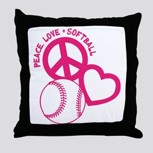 P,L,Softball, melon Throw Pillow