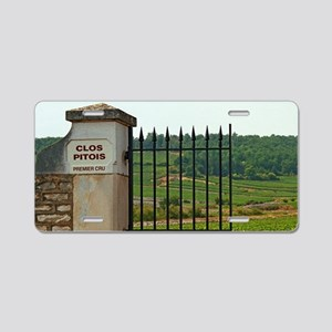An iron gate to the vineyar Aluminum License Plate