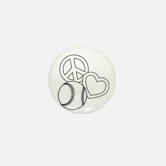 P,L,Softball, white Mini Button