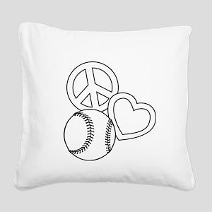 P,L,Softball, white Square Canvas Pillow