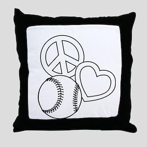P,L,Softball, white Throw Pillow