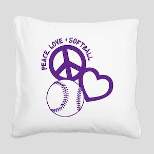 P,L,Softball, violet Square Canvas Pillow