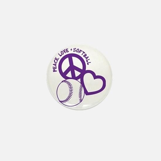 P,L,Softball, violet Mini Button