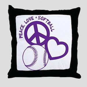 P,L,Softball, violet Throw Pillow