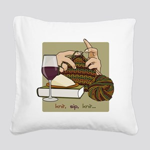knitsip2 Square Canvas Pillow