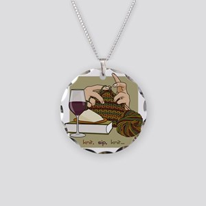 knitsip2 Necklace Circle Charm