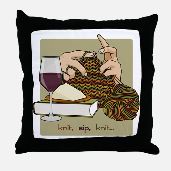 knitsip2 Throw Pillow