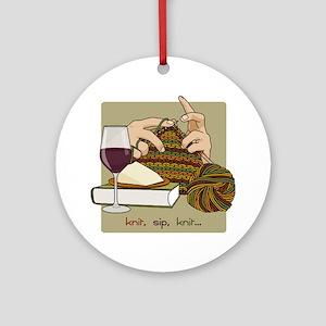 knitsip2 Round Ornament