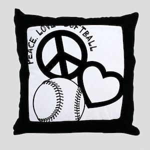 P,L,Softball, black Throw Pillow