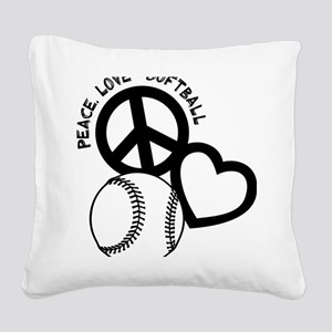 P,L,Softball, black Square Canvas Pillow