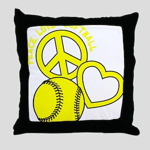 P,L,Softball, yellow Throw Pillow