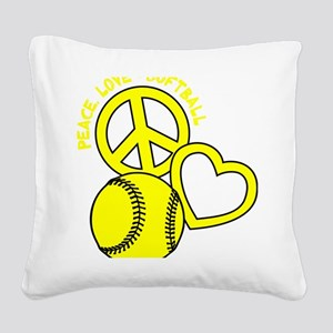 P,L,Softball, yellow Square Canvas Pillow