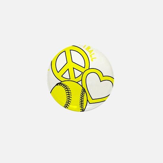 P,L,Softball, yellow Mini Button