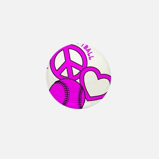 P,L,Softball, hot pink Mini Button