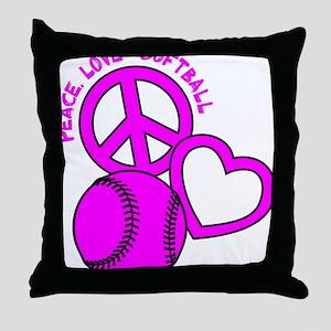 P,L,Softball, hot pink Throw Pillow