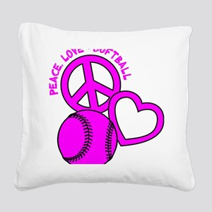 P,L,Softball, hot pink Square Canvas Pillow