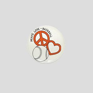 P,L,Baseball, orange Mini Button