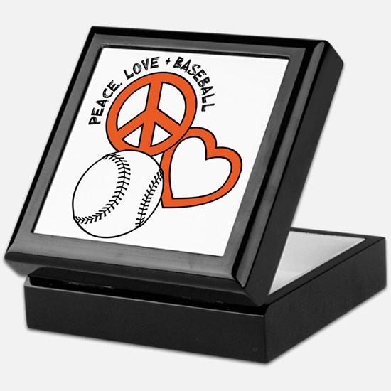 P,L,Baseball, orange Keepsake Box