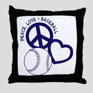 P,L,Baseball, navy Throw Pillow
