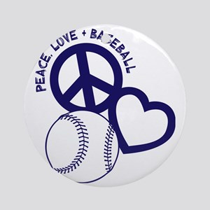 P,L,Baseball, navy Round Ornament