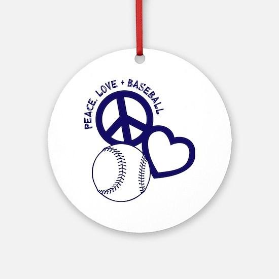 P,L,Baseball, navy Round Ornament