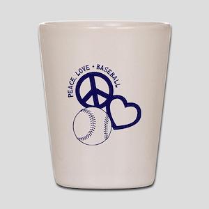 P,L,Baseball, navy Shot Glass