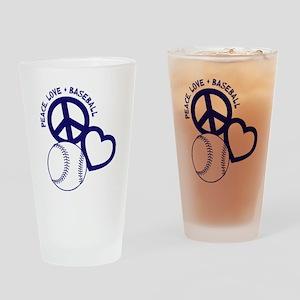 P,L,Baseball, navy Drinking Glass