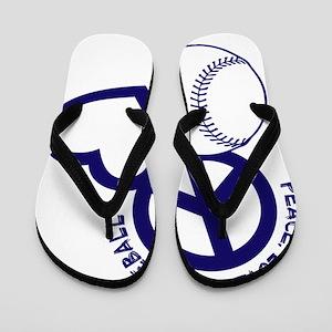 P,L,Baseball, navy Flip Flops