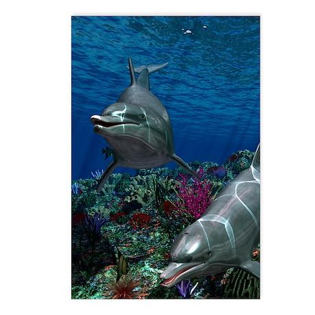 oceanworld_sticker_oval_v Postcards (Package of 8)
