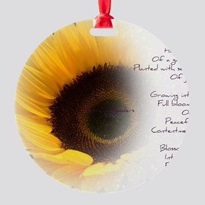 Sunflower Dream Poem Round Ornament