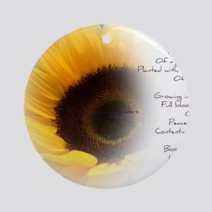 Sunflower Dream Poem Round Ornament