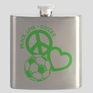P,L,Soccer, neon green Flask