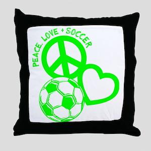 P,L,Soccer, neon green Throw Pillow