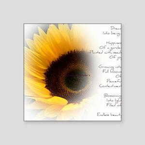 "Sunflower Dream Poem Square Sticker 3"" x 3"""