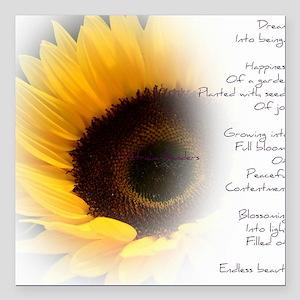 "Sunflower Dream Poem Square Car Magnet 3"" x 3"""