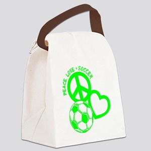 P,L,Soccer, neon green Canvas Lunch Bag