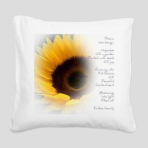 Sunflower Dream Poem Square Canvas Pillow
