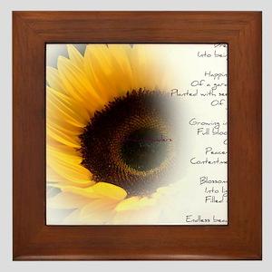 Sunflower Dream Poem Framed Tile