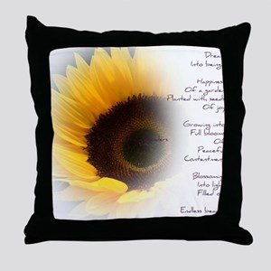 Sunflower Dream Poem Throw Pillow
