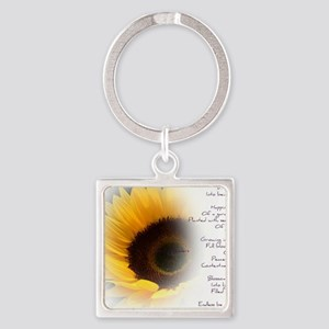Sunflower Dream Poem Square Keychain