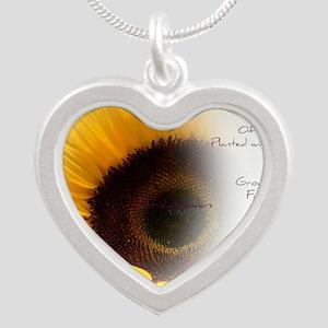 Sunflower Dream Poem Silver Heart Necklace