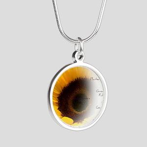 Sunflower Dream Poem Silver Round Necklace