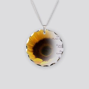 Sunflower Dream Poem Necklace Circle Charm