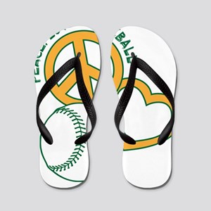 670c85e8a143fc Peace Love Baseball Flip Flops - CafePress