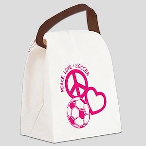 P,L,Soccer, melon Canvas Lunch Bag