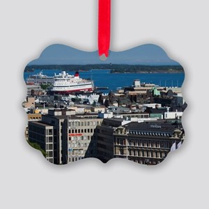 Elevated city view to Helsinki Ha Picture Ornament