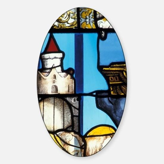 Stained Glass Windowennes Freyr Cas Sticker (Oval)