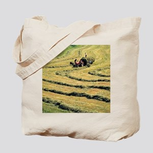 Inn River Valley. Perfect rows of mown wh Tote Bag