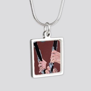 Clarinet Hands Shirt Silver Square Necklace