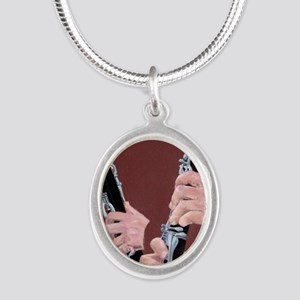 Clarinet Hands Shirt Silver Oval Necklace